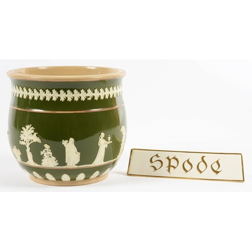 151 - <p>A COPELAND BUFF EARTHENWARE CACHE POT, COVERED IN DARK GREEN SLIP AND SPRIGGED WITH MUSES, 17.5CM...