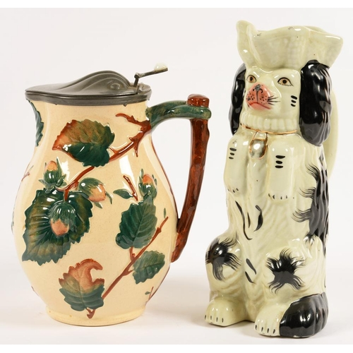 153 - <p>A VICTORIAN PEWTER MOUNTED EARTHENWARE JUG, MOULDED WITH HAZLENUTS, 20CM H, LATE 19TH C AND A REP...