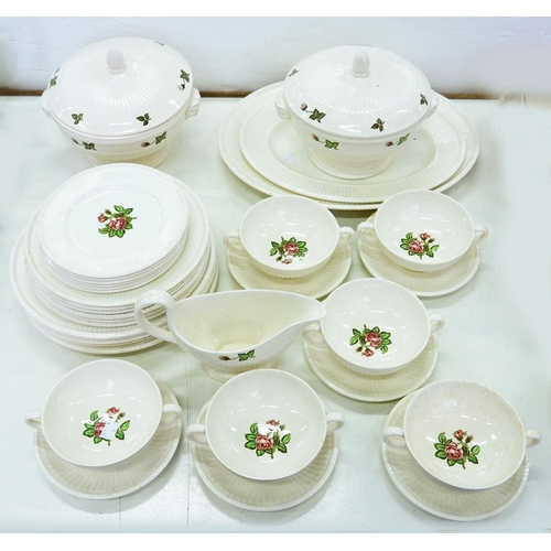 187 - <p>A WEDGWOOD WHITE EARTHENWARE MOSS ROSE PATTERN DINNER SERVICE FOR SIX, OF REEDED SHAPE, TO INCLUD...