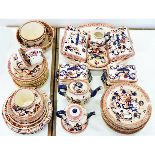 188 - <p>A STAFFORDSHIRE EARTHENWARE JAPAN PATTERN DINNER SERVICE, C1900</p>...