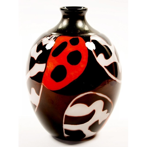 193 - <p>MICHAEL JAMES HUNTER TWISTS GLASS VASE, GRAAL TIGER MOTH WINGS WITH BLACK INCALMO, 31CM H, signed...