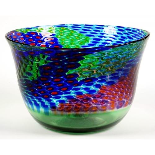 194 - <p>MICHAEL JAMES HUNTERS TWISTS GLASS VASE, 20CM H, 19CM DIA,  Twists label, SIGNED M Hunter Twists ...
