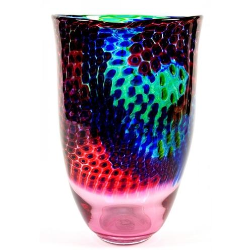 196 - <p>MICHAEL JAMES HUNTER TWISTS GLASS VASE, 32CM HIGH, 20C DIAM,   Twists label, SIGNED M Hunter Twis...