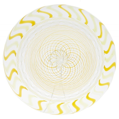 199 - <p>MICHAEL JAMES HUNTERS TWISTS GLASS VETO 99 GLASS DISH  DECORATED IN YELLOW AND WHITE, 26.5CM DIAM...
