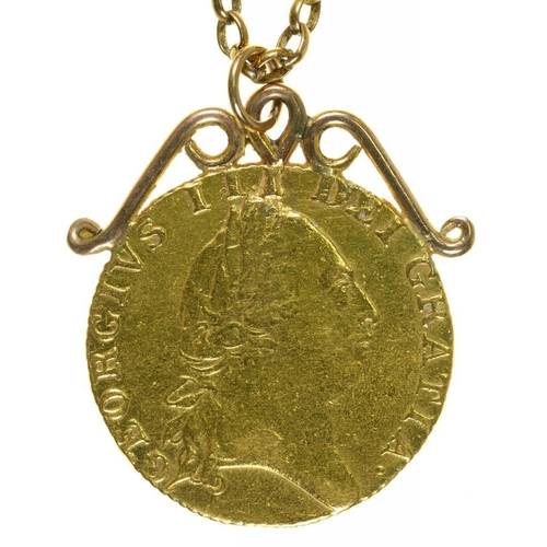 20 - <p>GOLD COIN. GUINEA 1788, IN PENDANT MOUNT ON GOLD CHAIN, 14.5G</p><p></p>...