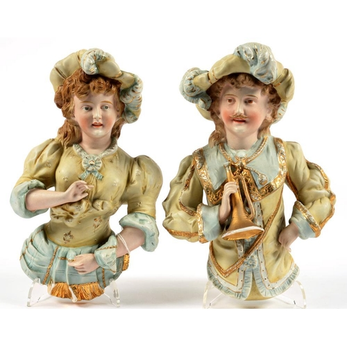 204 - <p>A PAIR OF CONTINENTAL BISCUIT WALL HALF FIGURES, 14CM H, LATE 19TH C AND A CAPO DI MONTE FIGURE O...