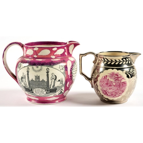 206 - <p>TWO LUSTRE WARE JUGS, THE LARGER WITH BLACK TRANSFER MASONIC AND OTHER PRINTS, THE SMALLER IN SIL...