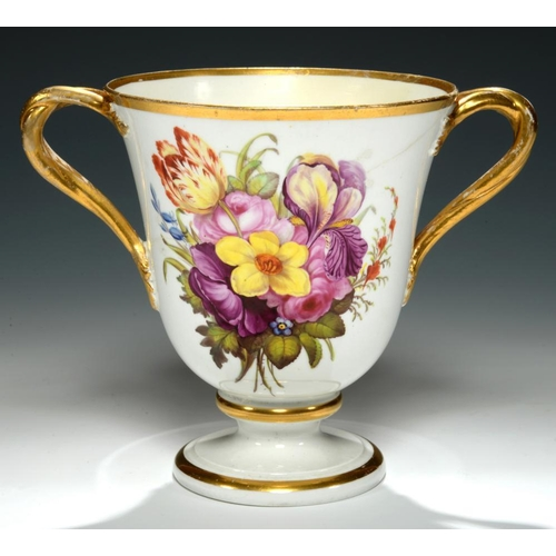 207 - <p>A DERBY BELL SHAPED LOVING CUP, C1810, with entwined handles and painted with a richly coloured b...