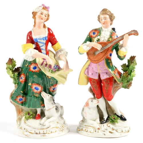 209 - <p>A PAIR OF CONTINENTAL CHELSEA STYLE FIGURES OF A MUSICIAN AND FLOWER GATHERER, 22CM H, 20TH C AND...
