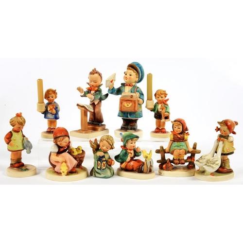 218 - <p>TEN W. GOEBEL FIGURES OF CHILDREN, MODELLED BY M. J. HUMMEL, VARIOUS SIZES, PRINTED MARK </p>...