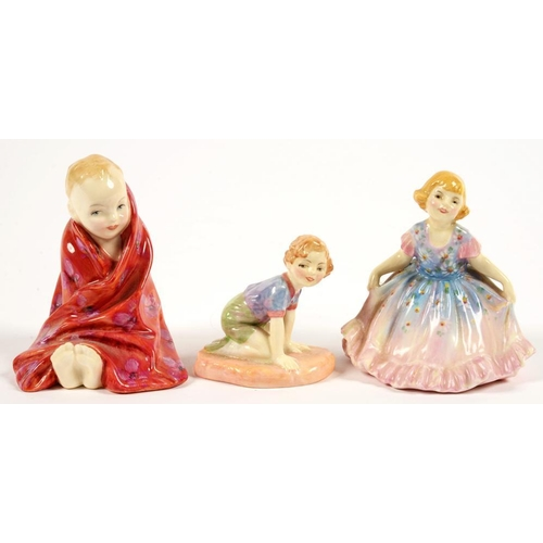 219 - <p>THREE ROYAL DOULTON BONE CHINA FIGURES OF CHILDREN, COMPRISING DAISY, ROBIN AND THIS LITTLE PIG, ...