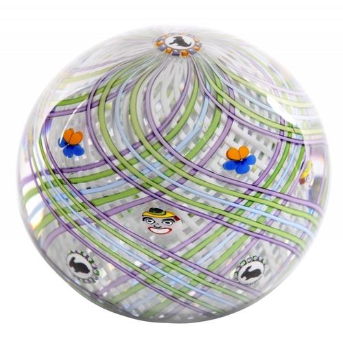 243 - <p>MICHAEL JAMES HUNTER TWISTS GLASS  LATTICINIO SWIRL PAPERWEIGHT WITH SILHOUETTE CANES OF FLOWERS ...