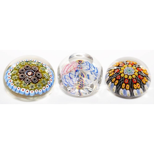249 - <p>THREE GLASS PAPERWEIGHTS , SPACED MILLEFIORE,  CONCENTRIC MILLEFIORE AND  RIBBON TWISTS  (3)</p>...