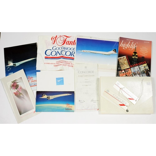 305 - <p>CONCORDE. VARIOUS CONCORDE LITERATURE, EPHEMERA AND MERCHANDISE OBTAINED BY A PASSENGER, IN CREAM...