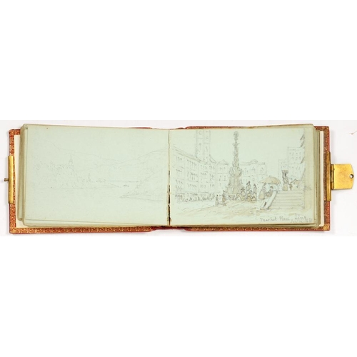 322 - <p>A VICTORIAN SKETCHBOOK OF DRAWINGS AND WATERCOLOURS OF A CONTINENTAL TOUR, INCLUDING SCENES AT BR...