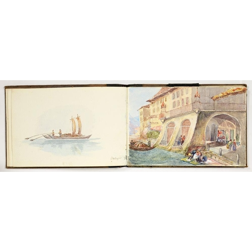 324 - <p>M. ABERCROMBIE, A VICTORIAN SKETCH BOOK OF WATERCOLOURS OF ALPINE AND ITALIAN SCENERY, FULL PAGE ...
