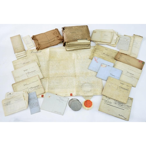 338 - <p>NOTTINGHAM INTEREST. A COLLECTION OF 18TH AND EARLY 19TH C PARCHMENT DEEDS, INCLUDING CONVEYANCES...