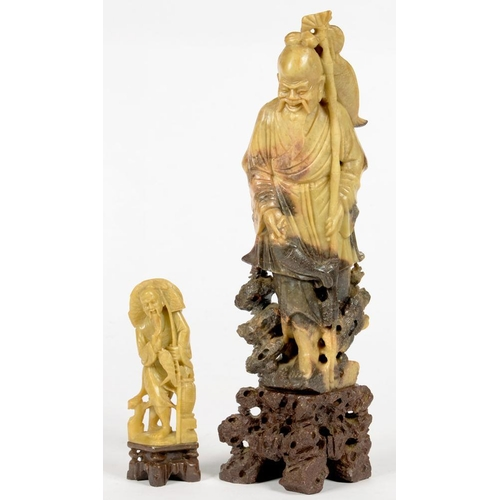 363 - <p>TWO CHINESE CARVED SOAPSTONE FIGURES OF A FISHERMEN, 15 AND 35CM H, 20TH C</p>...