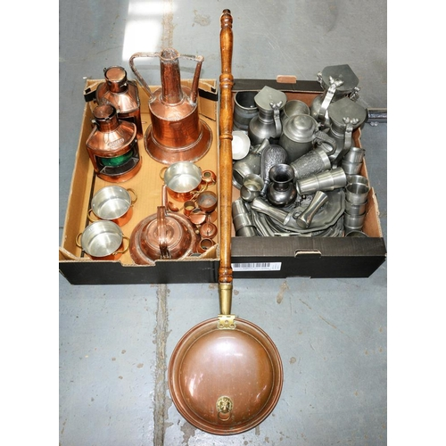 387 - <p>MISCELLANEOUS COPPER AND OTHER METALWARE, INCLUDING WARMING PAN AND PEWTER FLAGONS, ETC</p>...
