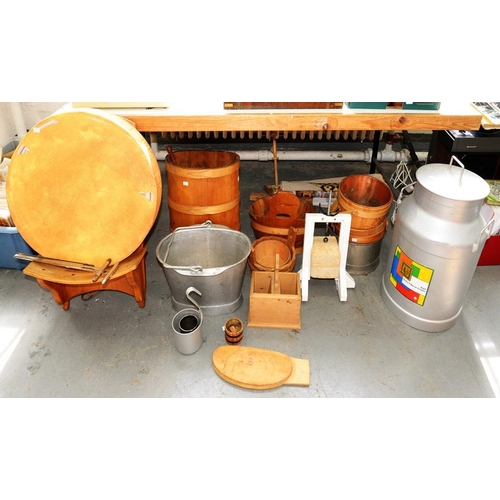394 - <p>MISCELLANEOUS DAIRY FARMING ITEMS, INCLUDING MILK BUCKETS, CHURNS AND CHEESE MOULDS, SCOOPS, ETC<...