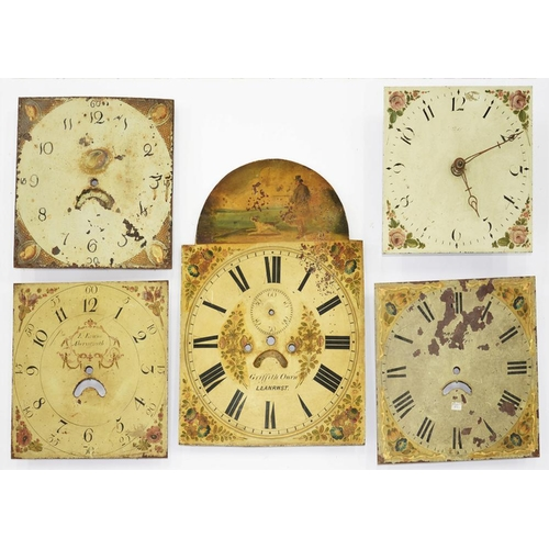 407 - <p>CLOCKS. A PAINTED ARCH TOP LONGCASE CLOCK DIAL, INSCRIBED GRIFFITH OWEN LLANRWST, 51 X 36CM AND F...