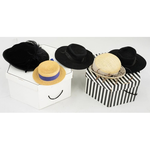 419 - <p>MILLINERY. FIVE VARIOUS LADIES HATS, SOME BOXED </p>...