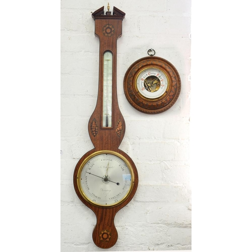 420 - <p>AN INLAID WALNUT BAROMETER, THE SILVERED DIAL INSCRIBED MARZORATI READING, EARLY 20TH C, 100CM H ...