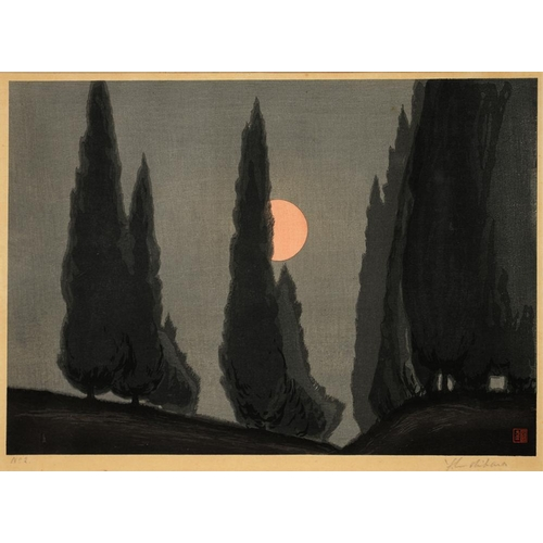 473 - <p>YOSHIJIRO URUSHIBARA, TREES AND MOON, COLOUR WOODCUT, SIGNED BY THE ARTIST IN PENCIL, WITH RED SE...