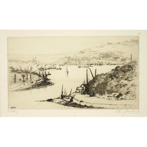 484 - <p>CLIVE MORLAND, WHITBY, ETCHING, SIGNED BY THE ARTIST IN PENCIL, 22 X 12CM AND ANOTHER, SIMILAR </...
