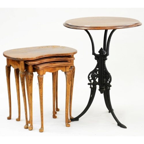 527 - <p>AN EARLY 20TH C CAST IRON TABLE BASE WITH LATER MAHOGANY TOP AND A WALNUT NEST OF KIDNEY SHAPED T...