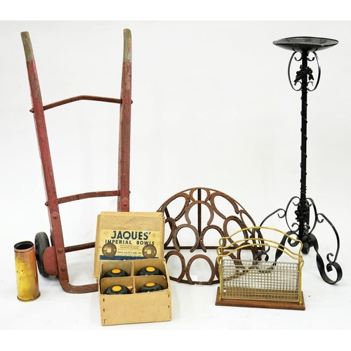 531 - <p>AN EARLY 20TH C PORTER'S TROLLEY, A WALL MOUNTED HAY TROUGH, BRASS MAGAZINE RACK, JACKS IMPERIAL ...