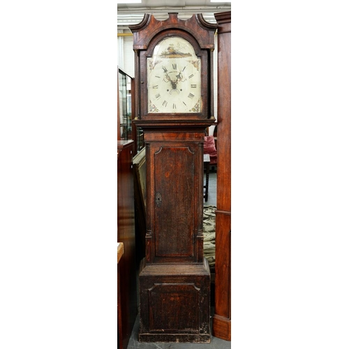 538 - <p>AN EARLY 19TH C OAK AND MAHOGANY LONGCASE CLOCK WITH PAINTED DIAL, 208 X 54CM</p>...