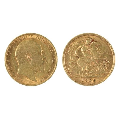 57 - <p>GOLD COIN. HALF SOVEREIGN, 1905, 4G</p><p></p>...