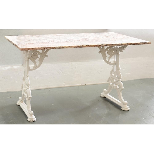581 - <p>A VICTORIAN CAST IRON STRETCHER TABLE BASE, LATER PAINTED WHITE, WITH A MARBLE TOP, 74CM H; 110 X...