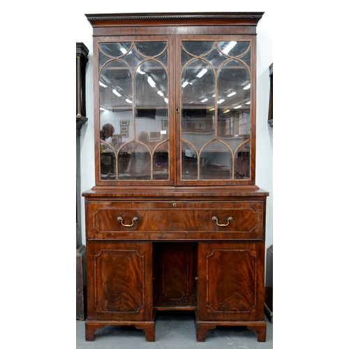 583 - <p>A REGENCY MAHOGANY AND LINE INLAID SECRETAIRE BOOKCASE, THE UPPER PART WITH GLAZED DOORS, 220CM H...