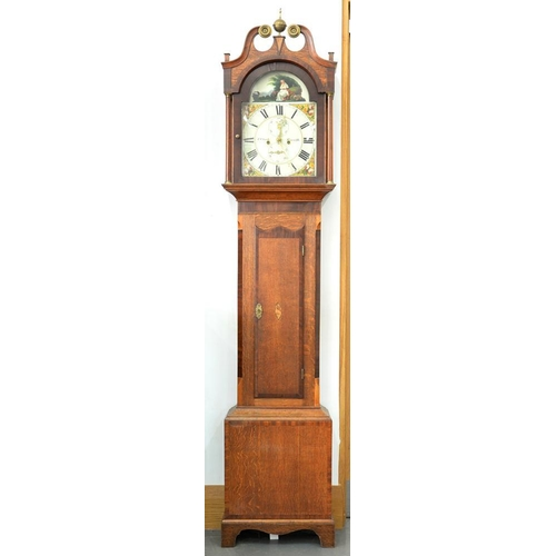 584 - <p>A VICTORIAN OAK AND INLAID MAHOGANY LONGCASE CLOCK, THE PAINTED ARCH DIAL INSCRIBED T CLARKE EPWO...