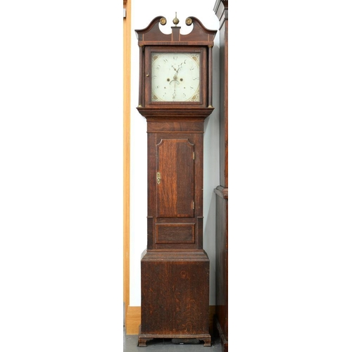 585 - <p>A VICTORIAN OAK AND INLAID MAHOGANY EIGHT DAY LONGCASE CLOCK, THE PAINTED DIAL INSCRIBED N BARBER...