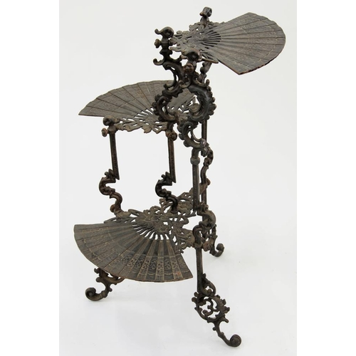 590 - <p>A CAST IRON THREE TIER WHATNOT IN AN ORIENTAL STYLE, EARLY 20TH C, 74CM H</p>...