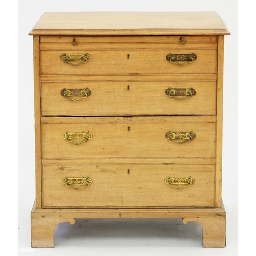 592 - <p>A WALNUT CHEST OF DRAWERS, VICTORIAN AND LATER, 75CM H; 67 X 43CM </p>...