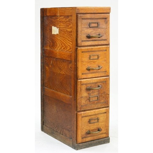 600 - <p>A STAINED OAK AND OAK PLY FILING CABINET WITH BRASS HANDLES, C1930, 130CM H; 37 X 70CM </p>...