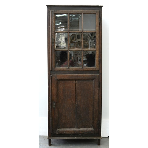 605 - <p>A GEORGE III OAK CUPBOARD, THE UPPER PART FITTED WITH GLAZED DOOR, 207CM H; 82 X 37CM</p>...