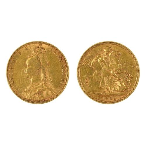 62 - <p>GOLD COIN. SOVEREIGN, 1889, 8G</p><p></p>...