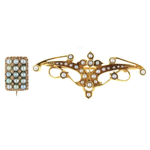 67 - <p>TWO VICTORIAN GOLD AND SEED PEARL BROOCHES, THE LARGER MARKED 15CT, THE SMALLER UNMARKED, 5.5G</p...