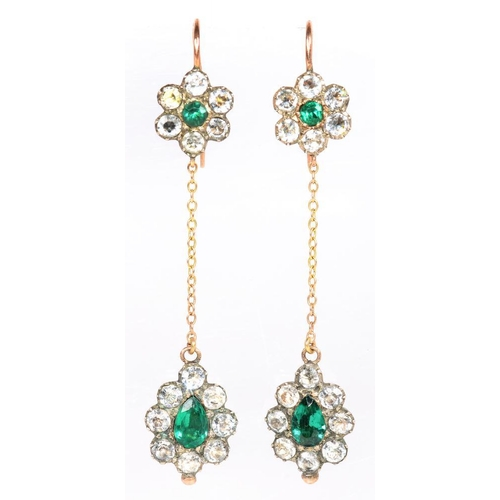 69 - <p>A PAIR OF GEORGIAN PASTE DROP EARRINGS IN SILVER AND GOLD, WITH GOLD GRANULES, APPROX 6CM LONG IN...