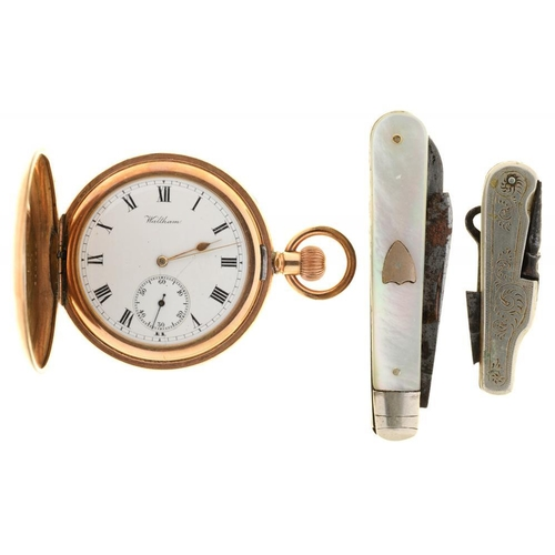 76 - <p>A WALTHAM GOLD PLATED HUNTING CASED KEYLESS LEVER WATCH, STAR NO 440589, A LATE VICTORIAN NICKEL ...