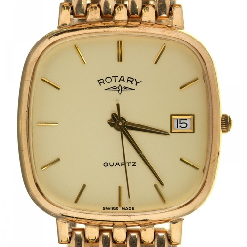 89 - <p>A ROTARY 9CT GOLD GENTLEMAN'S WRISTWATCH WITH CUSHION SHAPED DIAL, BIRMINGHAM 1991, GOLD BRACELET...