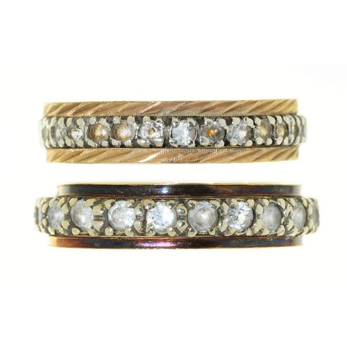 9 - <p>TWO STONE SET BAND RINGS, IN GOLD MARKED 9CT, 4.5G, SIZES N AND O</p><p></p>...