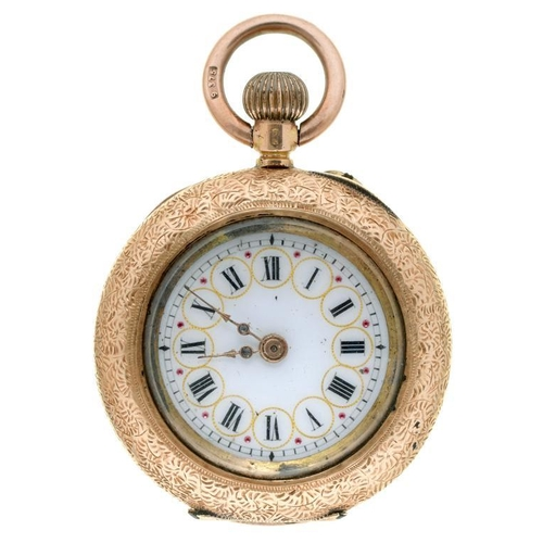 10 - <p>A SWISS GOLD KEYLESS CYLINDER LADY'S WATCH IN ENGRAVED CASE, MARKED 14K, C1900</p>...