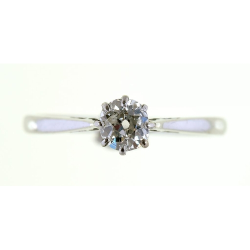 12A - <p>A DIAMOND SOLITAIRE RING WITH CUSHION SHAPED BRILLIANT CUT DIAMONDS IN WHITE GOLD, MARKED 18CT PL...
