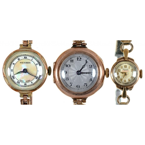14 - <p>TWO GOLD LADY'S WRISTWATCHES AND A PLATED EXAMPLE</p>...